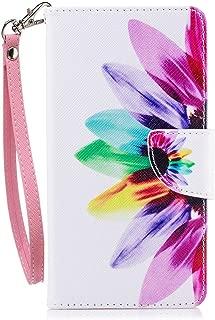 Nokia 6 2018 Case, Nokia 6.1 Case, JanCalm [Wrist Strap] [Kickstand] [Card/Cash Slots] Pattern Premium PU Leather Wallet Cell Phone Cases Flip Cover for Nokia 6.1 (2018) + Crystal Pen (Rainbow)
