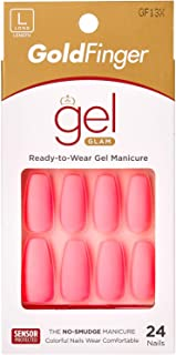 Kiss Gold Finger Gel Glam 24 Glue-On False Nails Hot Pink Matte Finish Ballerina Coffin Style