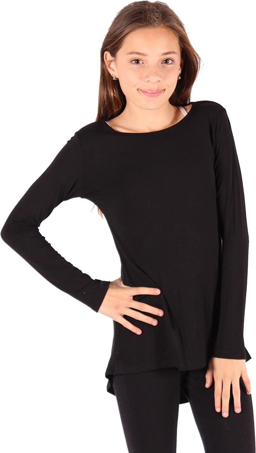 Lori & Jane Girls Long Sleeve Boho Tunic Top, Solid Color, Fluid Movement, Loose Fitting, Soft Material, Made in USA