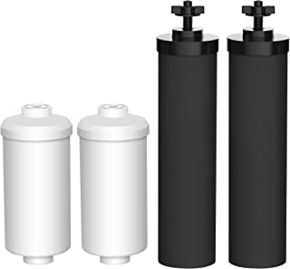 AQUA CREST Water Filter, Compatible with BB9-2 Black Filters & PF-2 Fluoride Filters Combo Pack and Gravity Filter System - Includes 2 Black Filters and 2 Fluoride Filters