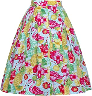 JUSSON Women's Skirt Printed Pleated Skirt Midi Skirt Cotton Fabric-flowers