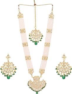 Jwellmart Women's Diva Collection White Kundan Stone Faux Pearl Rani Haar Necklace Earrings Set