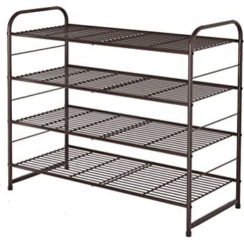 Simple Trending 4-Tier Stackable Shoe Rack, Expandable & Adjustable Shoe Organizer Storage Shelf, Wire Grid, Bronze