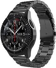 Simpeak Correa Compatible Samsung Gear S3 Reloj, Samsung Galaxy Watch (46mm) Acero Inoxidable Banda de Reemplazo Tres Hebilla de Cuentas Diseño Correa para Samsung Gear S3 Classic/Frontier - Negro