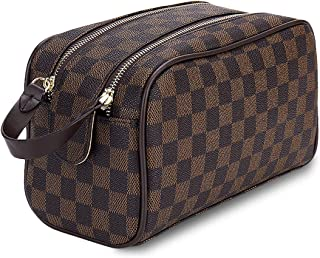 9ba397ee6905 Luxury Checkered Cosmetic Bag Two-Zipper Make Up Bag PU Leather Toiletry  Travel Bag for Women,Brown