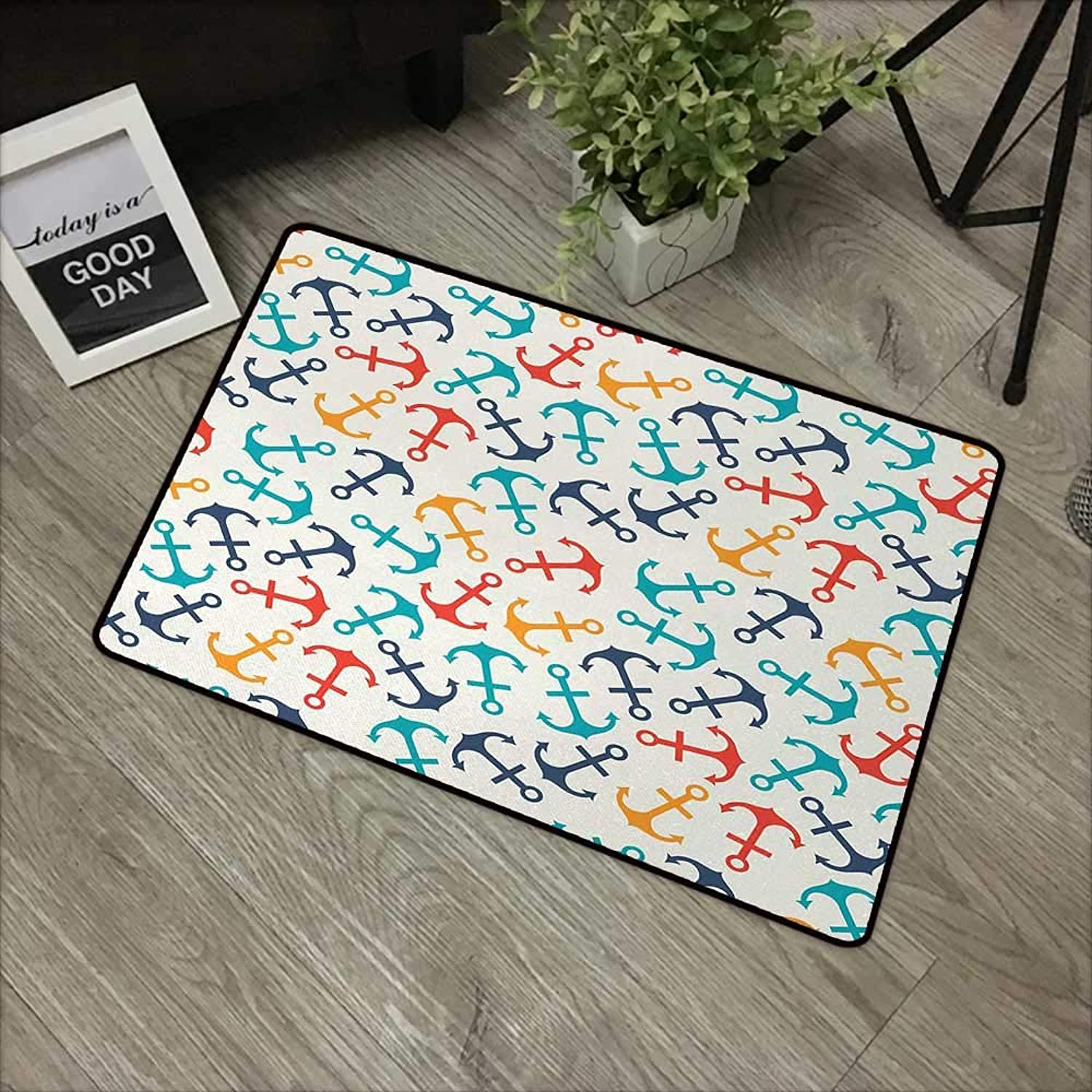 Bathroom Anti-Slip Door mat W31 x L47 INCH Anchor,Anchor Shape in Lines Tropics Getaway Transport Decorative Endless Repeat,Beige Multicolor Easy to Clean, no Deformation, no Fading Non-Slip Door Mat