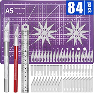 Precision Craft Knife Upgrade Exacto Knife Hobby Knife Exacto Knife Kit Purple Cutting Mat 80 Spare Exacto Knife Blades fo...