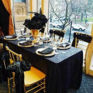 B-COOL Popular Black Sequin Tablecloth Shimmer Tablecloth 50x80-inch RECTANGULAR Table Overlays for Wedding Birthday Party Prom Table Decorations
