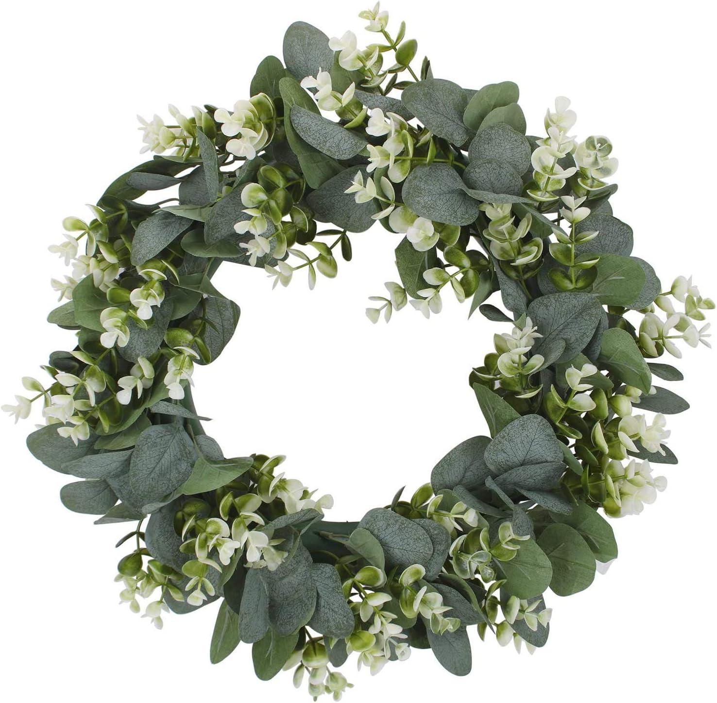 Artificial Popular Green Eucalyptus Chicago Mall Leaf Wreath W Greenery Spring Summer