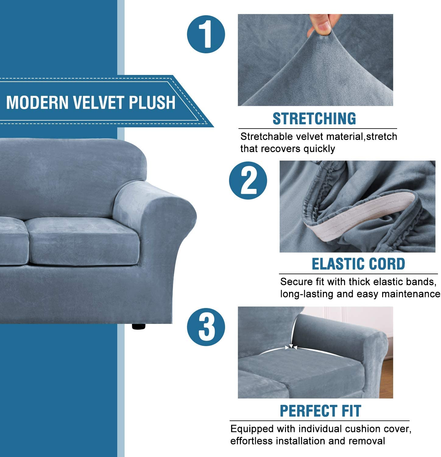 Machine Washable Modern Velvet Plush 4 Piece High Stretch Sofa Slipcover Strap Sofa Cover Furniture Protector Form Fit Luxury Thick Velvet Sofa Cover for 3 Cushion Couch Sofa,Navy