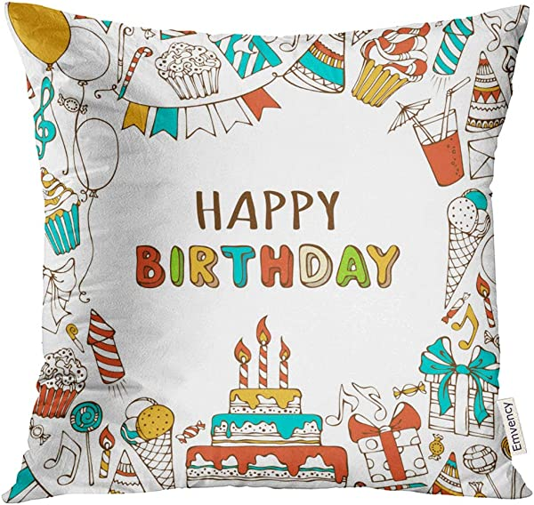 UPOOS Throw Pillow Cover Happy Birthday Sweets Party Blowouts Hats Boxes And Bows Garlands Balloons Music Notes Firework Candles Decorative Pillow Case Home Decor Square 18x18 Inches Pillowcase