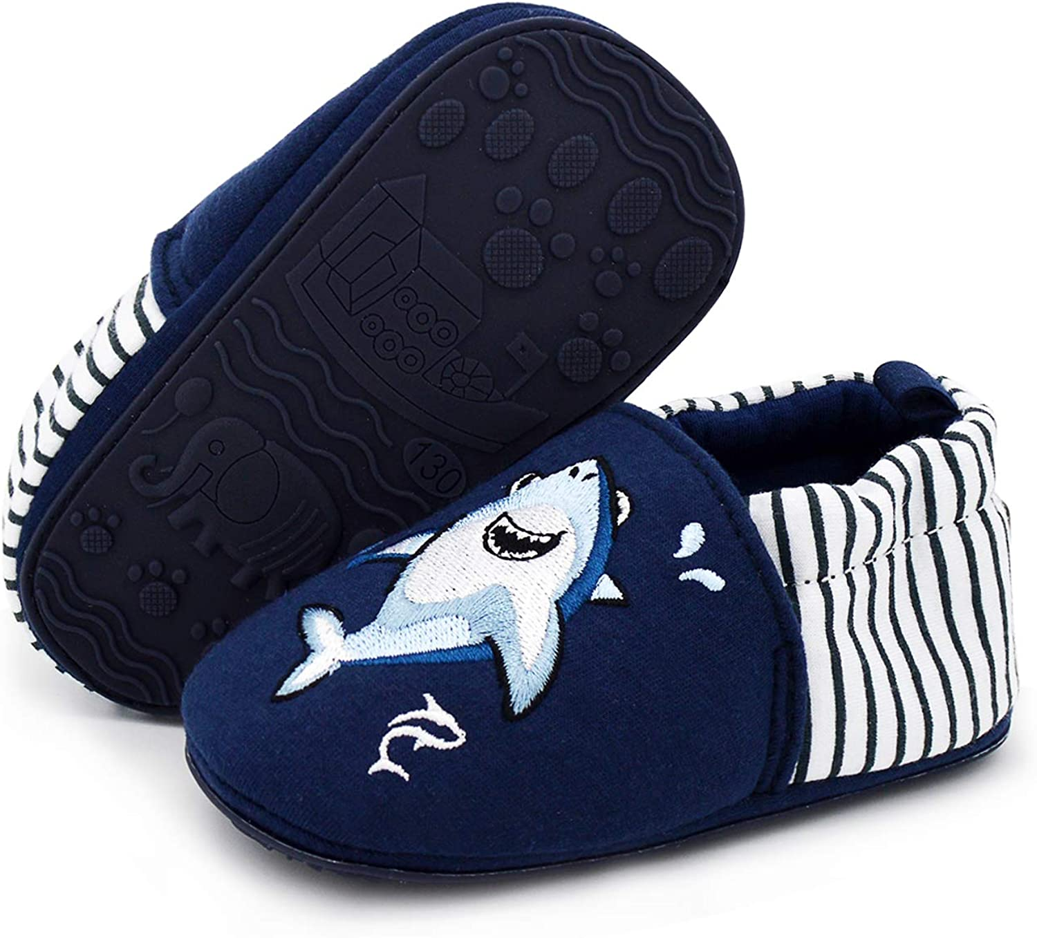 COSANKIM Infant Baby Boys Girls Slipper Soft Sole Non Skid Sneaker Moccasins Toddler First Walker Cirb House Shoes