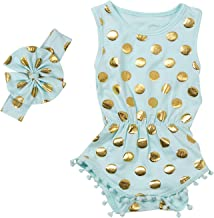 Baby Girl Clothes Floral Gold Dots Sleeveless Long Sleeve Romper Outfit Bodysuit Clothing Sets with Headband Leg Warmers