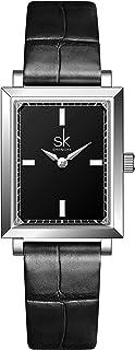 SK Plaza Reloje Mujere Correa de Malla de Acero Inoxidable Banda de Cuero Rectangular Relojes de Pulsera para Mujeres
