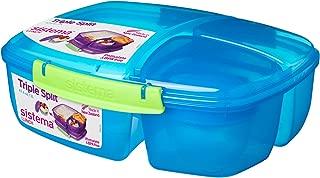 Sistema Lunch Triple Split Lunch Box with Yoghurt Pot, 2 L - Colour Sent at Random