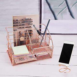 BKWJ Organisateur de Bureau, Organisateur de Bureau en Maille avec Grand tiroir, Support de Support de téléphone Portable ...