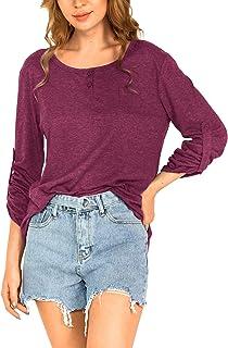 Amoretu Womens Long Sleeve Henley Tops Loose Causal Roll-up Blouse Tee Shirts