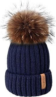 Winter Knit Hat Detachable Real Raccoon Fur Pom Pom Womens Girls Warm Knit Beanie Hat