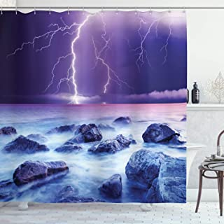 Ambesonne Storm Shower Curtain, Stormy Sky Scary Ocean Rocks Night View Theme Art Prints in Abstract Colors, Cloth Fabric Bathroom Decor Set with Hooks, 70