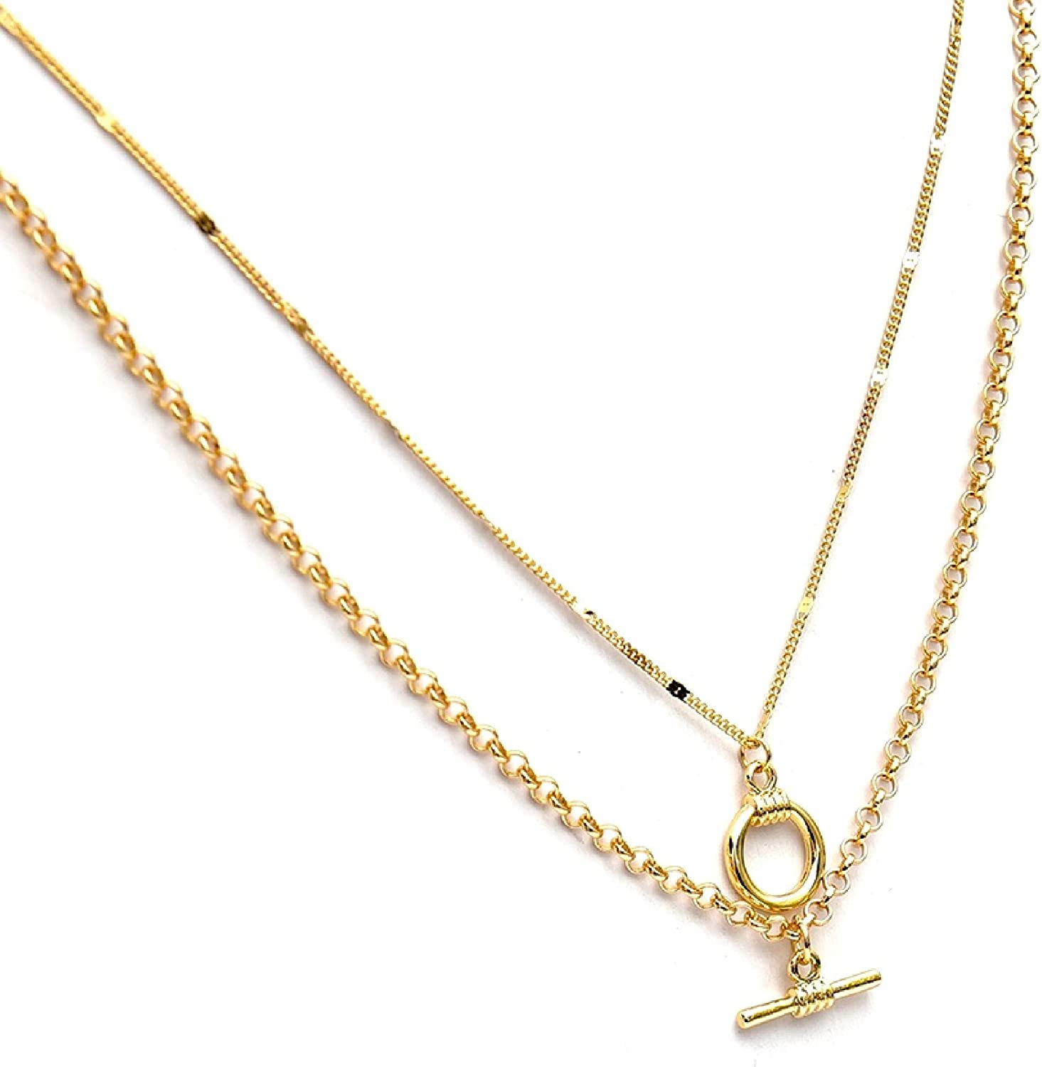 Allison Rose Atelier- Dainty Art Deco Necklace Set - 16k Gold Plated Preppy Chain Necklaces with T-Bar and Circle Charms - 2 Tier Layered Necklace for Women