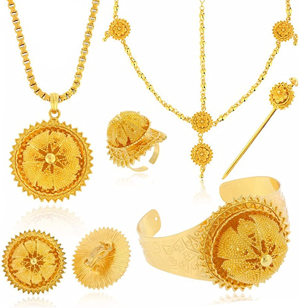 Big Size Six Pcs Jewelry Sets for Ethiopian Habesha Gold Color Women Wedding Party Jewelry