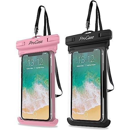 "Procase 2 Fundas Impermeables para Celulares como iPhone 12 Mini/Pro MAX/SE 2020/X/8 7 Plus/6S/6/6S Plus, Galaxy S20/S20+/S20 Ultra 5G/S9/S8 Plus/Note, Huawei y Xiaomi Móviles hasta 6.9"" -Rosa+Negro"