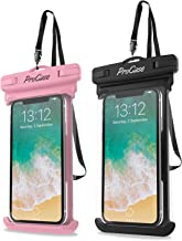 """ProCase Universal Waterproof Case Cellphone Dry Bag Pouch for iPhone 12 Pro Max 11 Pro Max Xs Max XR XS X 8 7 6S Plus SE 2020, Galaxy S20 Ultra S10 S9 S8/Note 10 9 up to 7"""" -2 Pack, Pink/Black"""