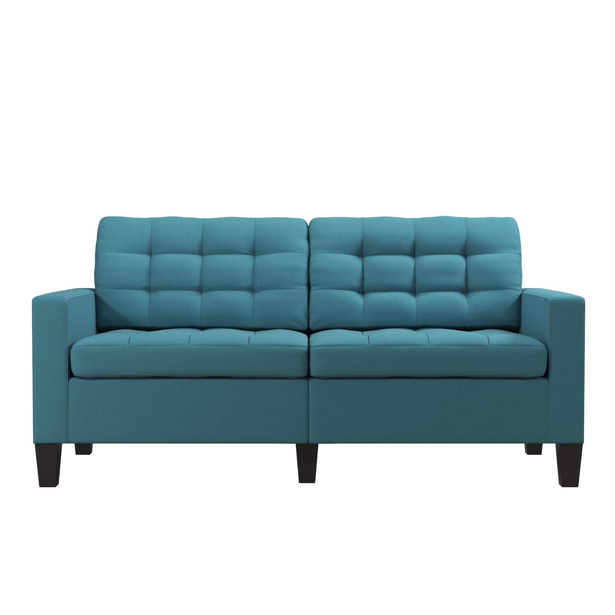 Dorel Living Emily Upholstered Sofa Couch Living Room Furniture, Teal