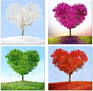 sechars - 4 Piece Canvas Wall Art Love Heart Trees Picture Canvas Prints 4 Season Tree Nature Landscape Painting Giclee Artwork Printed Romantic Home Bedroom Decor Ready to Hang (12