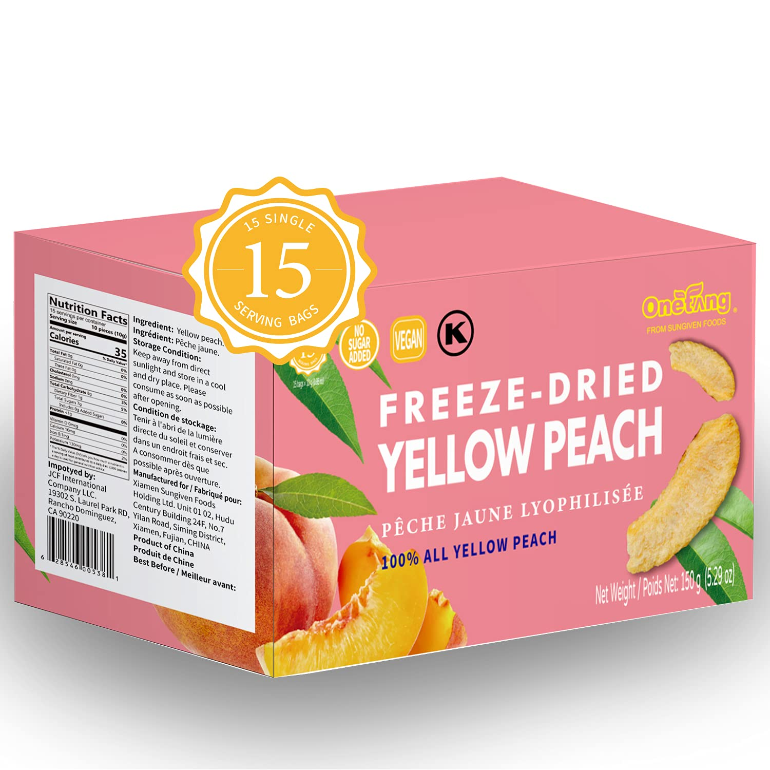 ONETANG Freeze-Dried Fruit Yellow Peach, 15 Pack Single-Serve Pack, Non GMO, Kosher, No Add Sugar, Gluten free, Vegan, Healthy Snack 0.35 Ounce