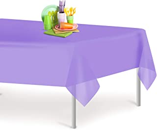 Lavender 12 Pack Premium Disposable Plastic Tablecloth 54 Inch. x 108 Inch. Rectangle Table Cover By Grandipity