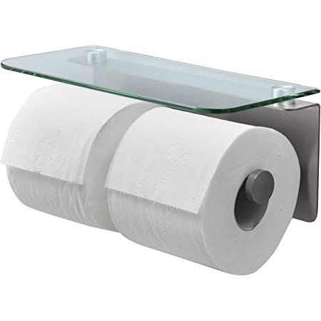 Toilet Roll Holder Double Industrial Steel Toilet Paper Holder Complete With Fixings Modern Bathroom