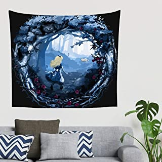 Chasing Cheshire Cat theme Elegance Tapestry Wall Hanging - Cartoon Alice girl Wall Decor for Bedroom Decorative Art white 91x59 inch