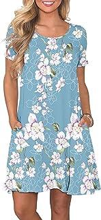 Women's Casual Summer T Shirt Dresses Short Sleeve Swing Dress with Pockets