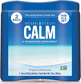 Natural Vitality Calm, Magnesium Citrate Supplement Powder, Anti-Stress Drink Mix, Unflavored – 16 Ounce (2 Pack)