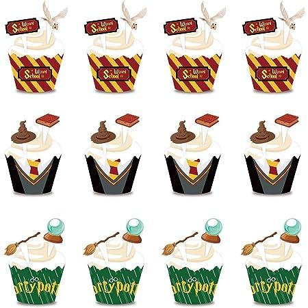 Cake Topper BETOY 24PCS Decorazioni per Cupcake a Tema Wizard Cupcake Wrapper Set Topper per Torte Compleanno Cake Decoration per Bambini, Dolci, Party