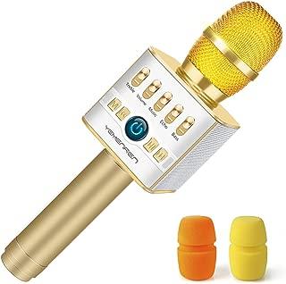 Bluetooth Microphone Karaoke, Yemenren 2800mAh Wireless Microphone Karaoke Portable Microphone Karaoke Bluetooth Mic Speakers Karaoke (Gold)