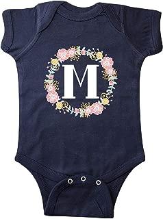 Monogram Letter M Rose Floral Wreath Gift Infant Creeper