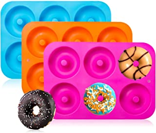 3-Pack Silicone Donut Baking Pan of 100% Nonstick Silicone. BPA Free Mold Sheet Tray...
