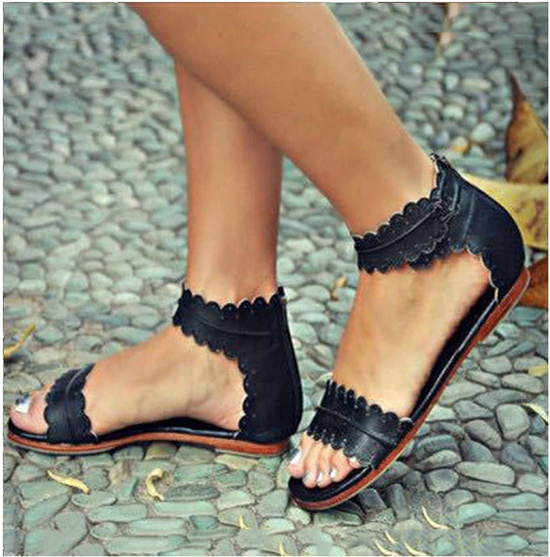 Women Sandals Retro Flats for Summer New Open Toe Beach shoes Zip Casual Sandalias 42 43