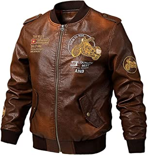 Sunward Men's Fashion Casual Leather Jacket Casual Large Pure Leather Coat