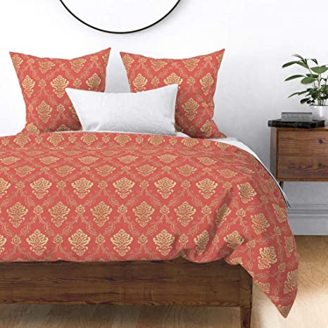Amazon.com: Roostery Duvet Cover, French Pink and Gold Salmon Coral Brocade  Art Print, 100% Cotton Sateen Duvet Cover, Twin: Home & Kitchen