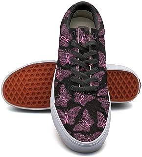 SERXO Breast Cancer Black Butterfly Skateboard Shoes Women Ladies Sneakers