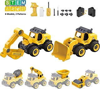 iBaseToy Take Apart Toys with Electric Drill | 6 in 2 Construction Truck Take Apart Toy for Boys | Electric Powered & Sounds | Gift Toys for Boys 3,4,5,6,7 Years Old | Kids Stem Building Toy