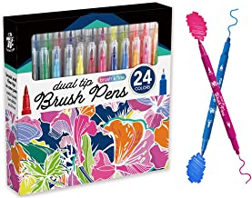 TBC The Best Crafts Dual Tip Brush Pen Set, 24 Watercolor Marker Pens for Painting, Coloring, Calligraphy, Manga, Office a...