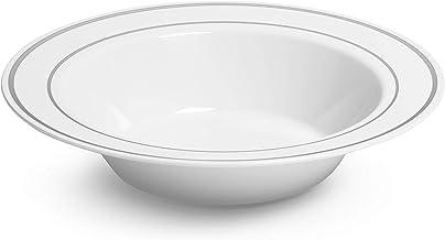 Silver Rimmed White Bowls - 12 ounce - 50 Count - Hard Plastic - Disposable or Reusable - Dessert Bowls - Salad Bowls- Cer...