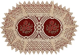 Simhomsen Vintage Look Burgundy Lace Table Placemats Doilies Set of 6, Oval 12 × 18 inch, Customer Order
