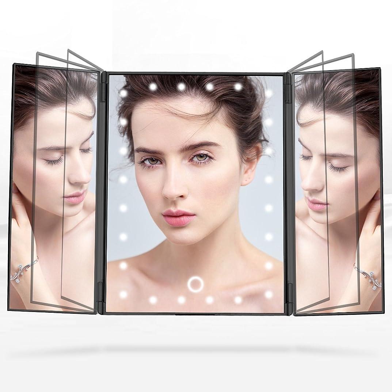 核リラックスした評決Telustyle 化粧鏡 卓上ミラー三面鏡 LED付き折りたたみ式 明るさ調整可能 ブラック