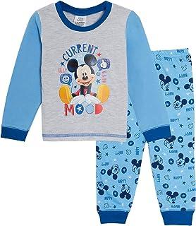 Pyjama long pour bambins garçons avec motif de Mickey Mouse de Disney pleine. Ensemble de vêtements de nuit à offrir