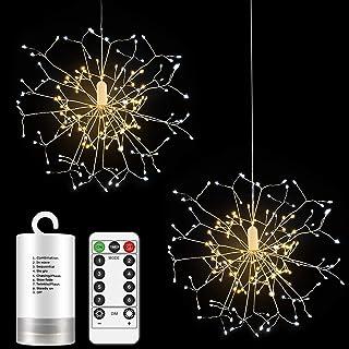 Anpro 2 Stücke Feuerwerk Lichter, 150 LED Feuerwerk Lichterketten, Kupferdraht Starburst Lichter wasserdicht mit Fernbedie...